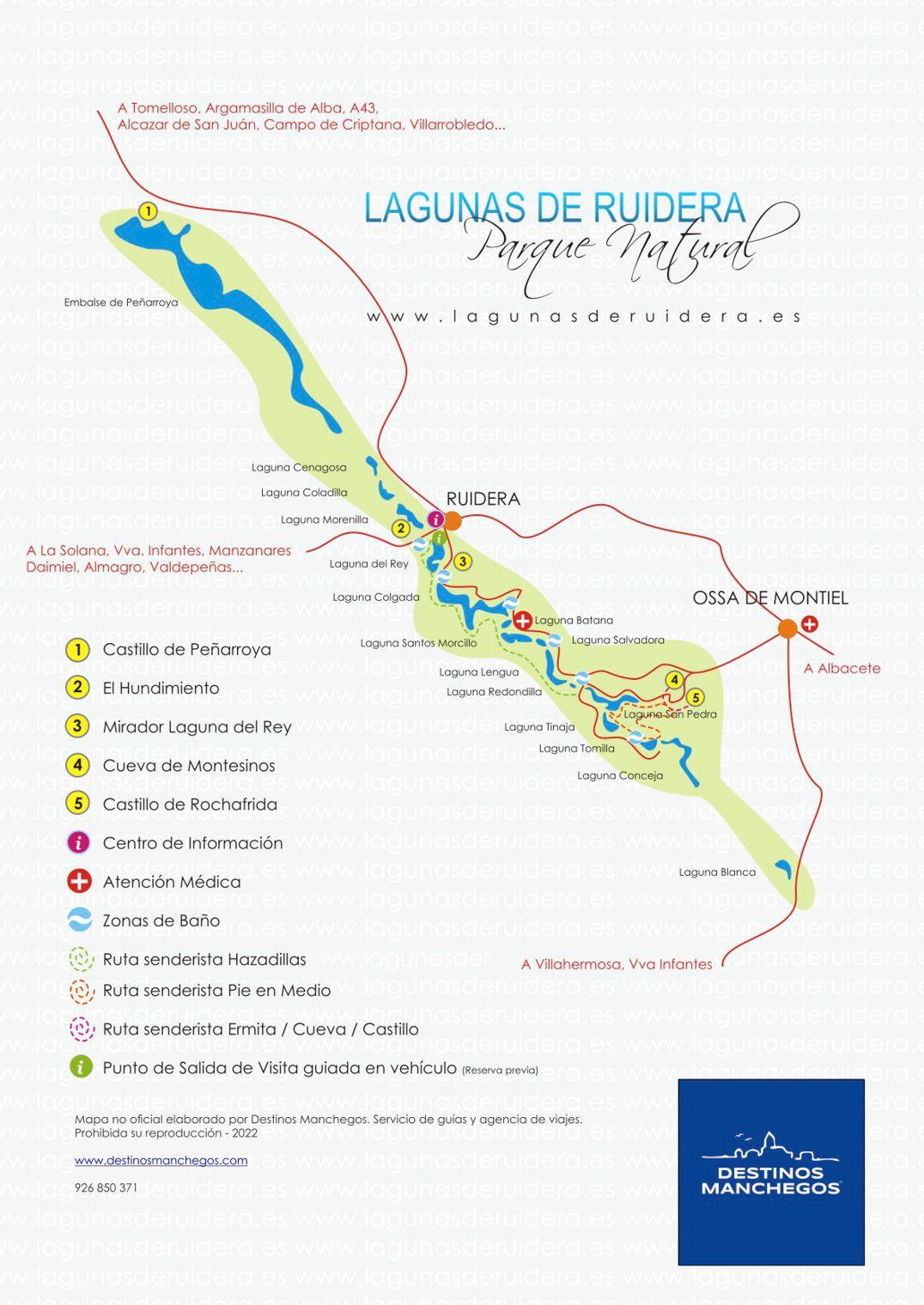 Plano Mapa de Las Lagunas de Ruidera